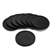 HOT SALE Silicone Black Drink Coasters Set of 8 Non-slip Round Soft Sleek and Durable Easy to Clean Black(China)