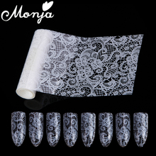 1 Roll White Nail Art Magic Flower Lace Image Starry Sky Foil Stickers Glue Transfer Fashion Decals Wraps 3D DIY Decoration