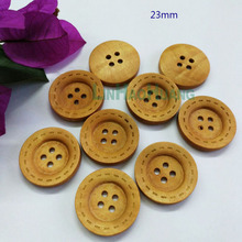 Wholesale DIY fancy 100pcs 23mm 4-hole wood buttons light brown buttons laser line free shipping 2016010606