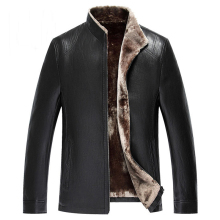 Italian Style Name Brand Mens Faux Fur Leather Jacket Christmas Gift For Mens Autos Leather Fur Coats Winter Outwear Male C062(China)