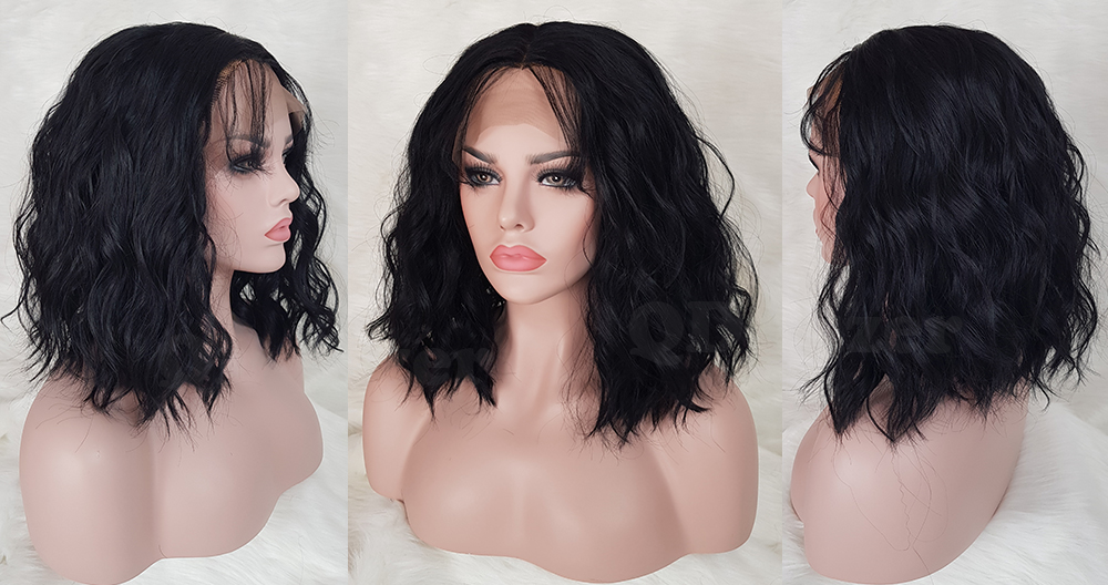 QD-Tizer Black Color Short Wavy Synthetic Lace Front Wig Glueless with Baby Hair Loose Wave Heat Resistant Synthetic Lace Front Wigs6