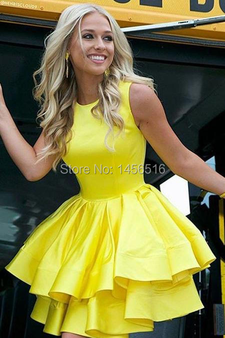Tiered Skirt Yellow Homecoming Dresses Short Satin Gown (3)