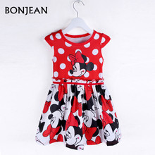 2017 New Fashion Summer Dress Princess Party dress Minnie Mouse Dress Girls Clothes Printing Dot Short Sleeve Dress Girls