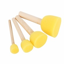 4pcs Round Stencil Sponge Foam Brushes Wooden Handle for Furniture Art Crafts Stenciling Painting Tool Supplies(Hong Kong)