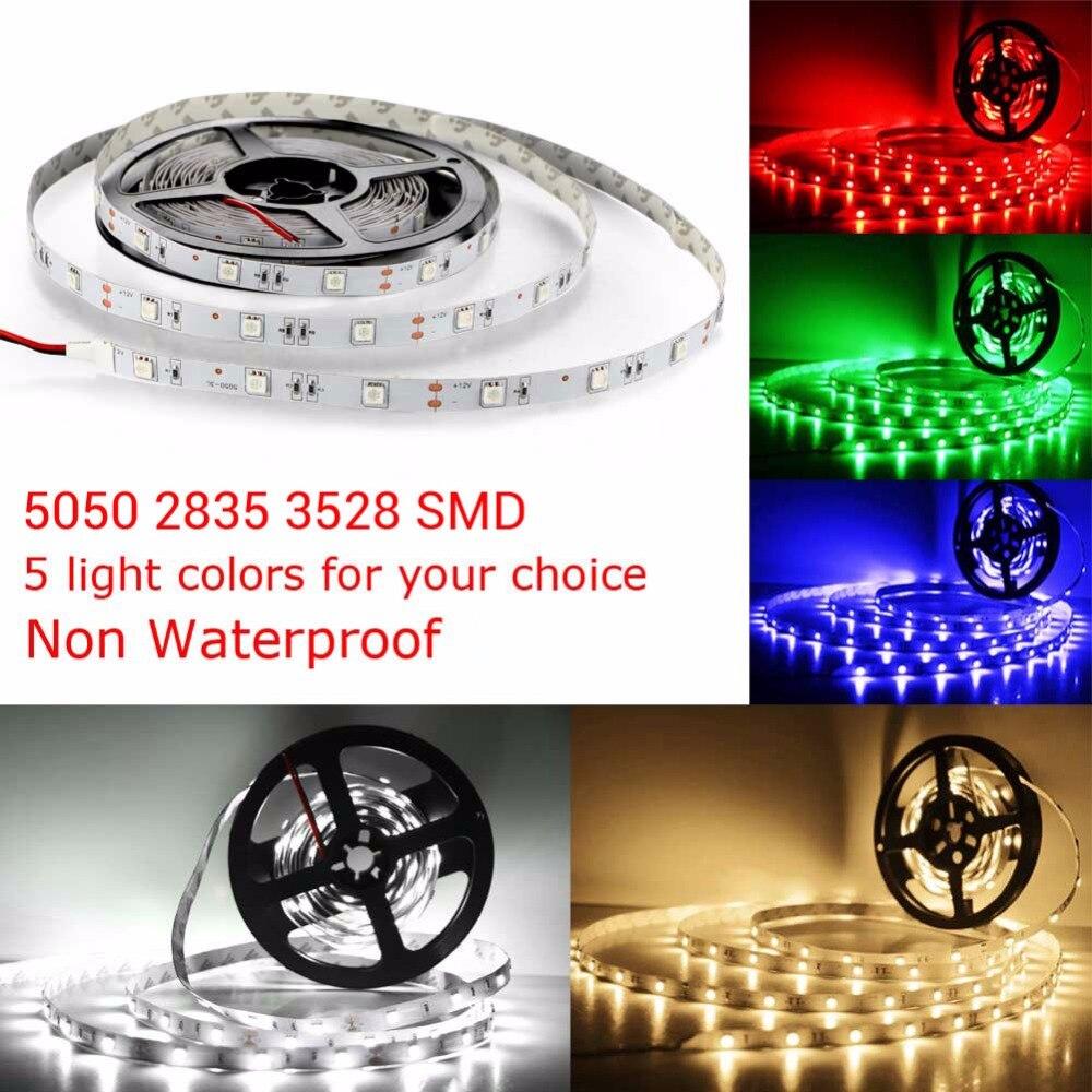 Non Waterproof 5M SMD 5050 2835 3528 LED Stirp Light DC 12V Flexible Strip 150LED 300LED For Indoor Home Lighting