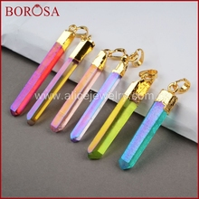BOROSA Natural Aura Quartz Titanium Crystal Point Pendant Bead Gold Color crystal stone electroplated druzy pendant 360