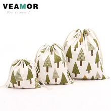 3PCS/SET Cotton Cloth Drawstring Candy Gift Bags for Children New Year Christmas Tree Small Jewelry Gift Storage Bags B145
