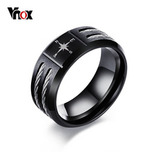 Vnox Compass Black Men Ring Fashion Twisted Wia Alliance Simple Stainless Steel Bijoux Jewelry Gift