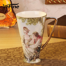 YeFine Ceramics Large Capacity Tea Mugs Creative Gift Bone China Water Container Cups And Mugs Top Grade Porcelain Coffee Cup(China)