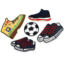 Sports football patch iron on embroidery cartoon shoes patches applique for jeans DIY sewing on patch for boy's clothes