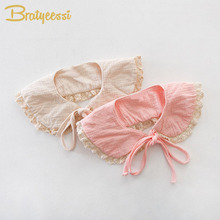 2017 New Korea Lace Girls Collar with Bow Tie Lovely Princess Plicate Baby Bibs Pink/Beige 1 PC(China)