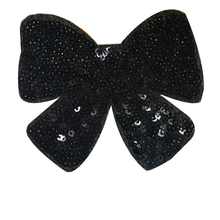 Free shipping clothes patch sequins 9cm logo black bow applique embroidery flower patches for clothing sticker patchwork