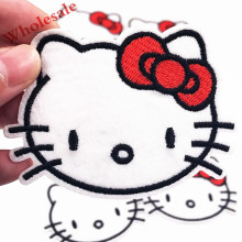 10PCS Red Bow Hello Kitty Cat girls Embroidered Patch Iron on Sewing on Applique Patch Clothes Shoes Bags DIY Badges Patches