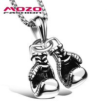 Newest 2016 Hot Brand Men Stainless Steel Boxing Gloves Pendant Choker Necklace Punk Colar Trendy Mens Jewelry 3 Colors MGX1095