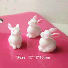 50pcs Cute 3D Resin Cute Easter Bunny for DIY Scrapbooking Decorative Craft Making,15*12*10mm,RC11044(China)