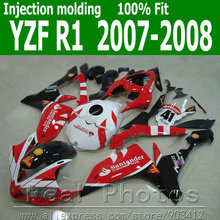 Injection molding full fairing kit for YAMAHA R1 fairings 2007 2008 black red Santander body kit 07 08 YZF R1 NB41