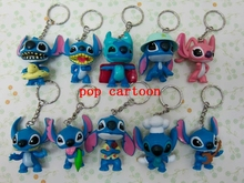 New 10 pcs/set  Cartoon Popular Stitch  PVC Key Chains  Strap For Cell Phone Bag Pendant  For Best Gift  P-13