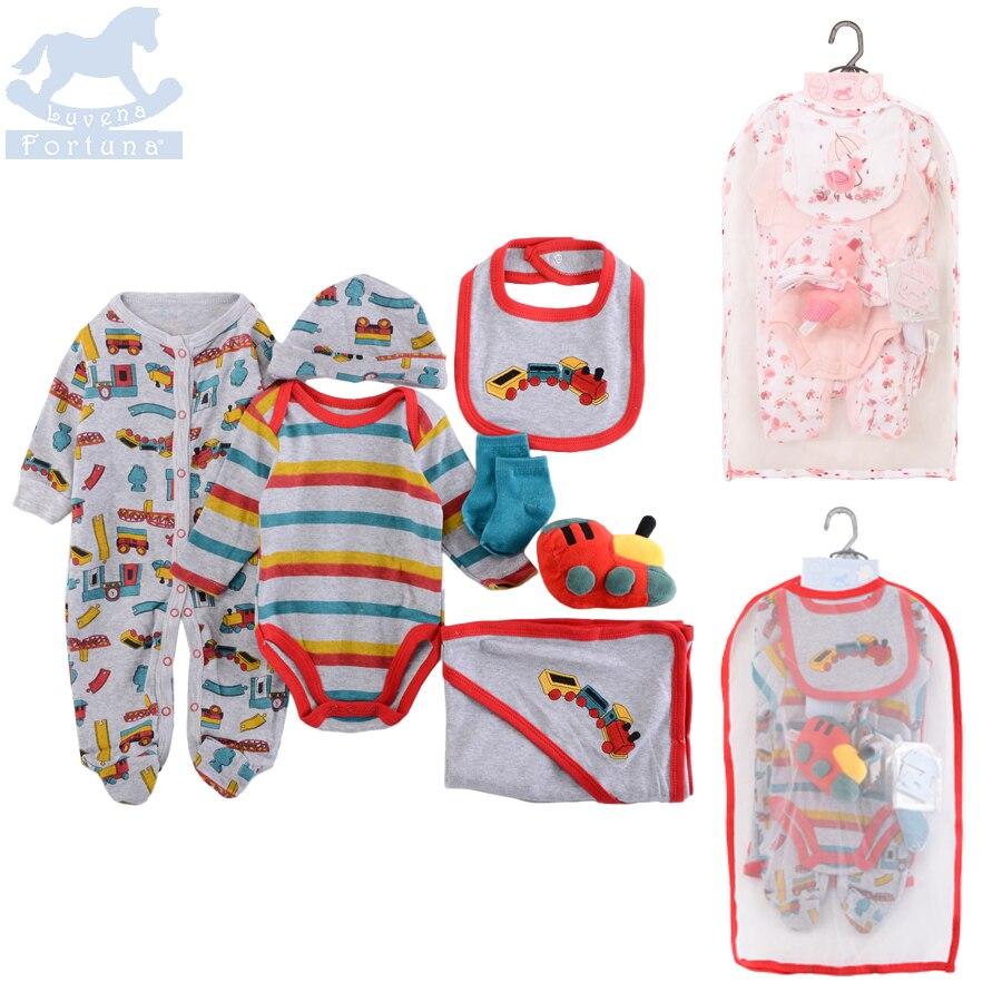NEW Arrival!!! Luvena Fortuna Baby Bodysuit Jumpsuit Bib Blanket Mitten Toy 7-Pieces Multi Set With Mesh Bag Newborn Gift Set<br>