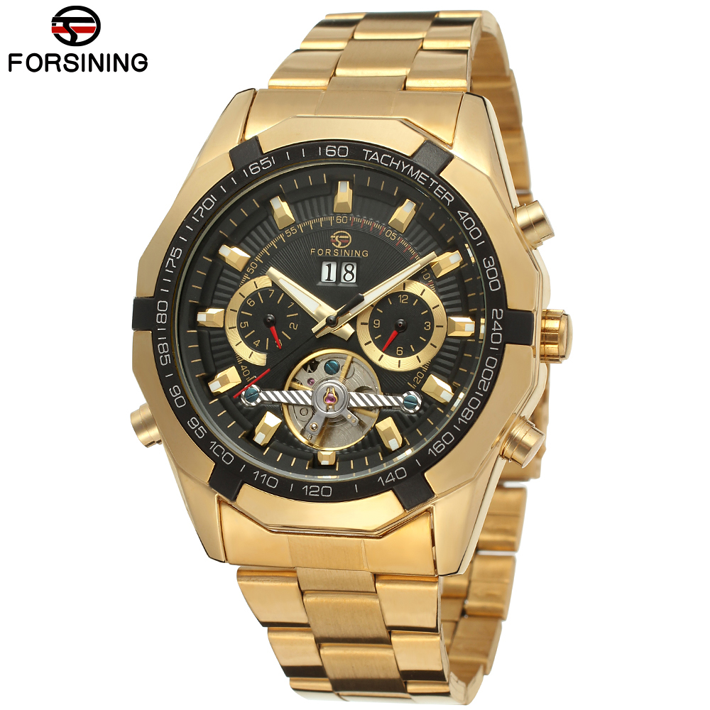Forsining Automatic Tourbillon Watch Mens Watches Top Brand Luxury Stainless Steel Mechanical Gold Mens Wristwatch Orologio Uomo<br>