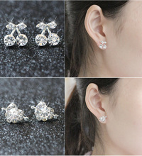 WLP brand jewelry rabbit flower Bow Earring 2017 Fashion Rhinestone Stud Earrings Women Alloy crystal Studs Earring For Women
