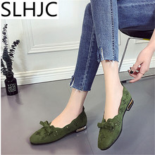 SLHJC Summer Flats Women Square Toe Breathable Flat Heel Shoes Casual Loafers Sandals Shoes(China)