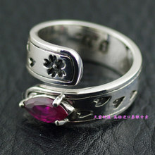 Girls vibrations oriental red corundum pure silver pinky ring open ring(China)