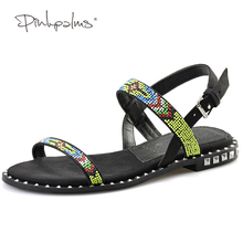 Pink Palms women summer shoes multicolor beads comfortable flat roman shoes flip flops Gladiator Sandalias  sandals