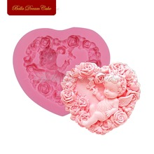 Rose Angel Craft Art Silicone Soap Mold 3D Craft Molds DIY Fimo Resin Clay Candle Molds Fondant Handmade Soap Moulds Bakeware(China)