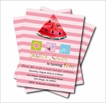 20pcs/lot Custom Sweet Watermelon Birthday Invitations Girls Baby Shower invites Birthday party decoration supply free shipping