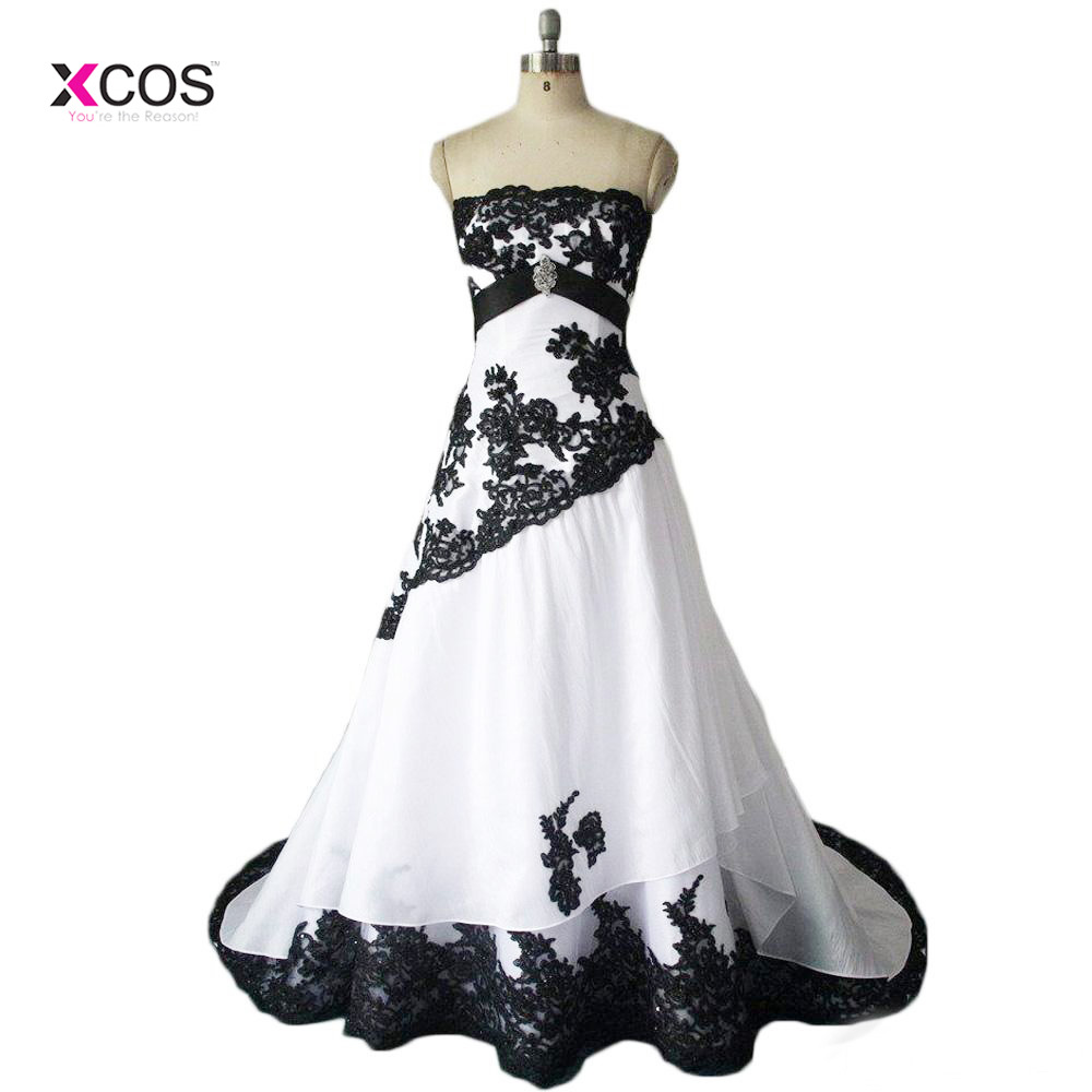 Vintage Black And White Wedding Dresses Real Photos Strapless Lace Appliques Lace Up Back Long Bridal Gowns Custom Made