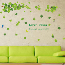 9145-y DIY Green Maple Leaf Wall stickers For Kids Room decoration living room and bedroom wall decors Removable PVC Wall Paper