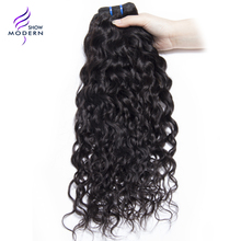 Modern Show Malaysian Water Wave Hair Bundles Human Hair Weave Non-remy Hair Extensions 1 Bundle Natural Black 1B Can be Dyed