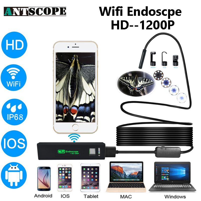 Antscope Iphone Endoscope HD Wifi Camera 8mm 1200P Borescope Waterproof Camera Endoscopio Hard Tube Wifi Endoscope Camera <br>