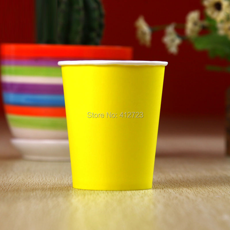 Hot sale 7OZ drinking cups,Wedding party supplies plain yellow color paper cup crafts Christmas/birthday/baby shower decoration(China)