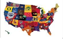 Map of the country broken down by college football fandom flag 3ftx5ft Banner 100D Polyester Flag metal Grommets