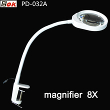 magnifying glass table machine soft rod dimmable LED light magnifier for reading repairing ,Desktop magnifier 8X