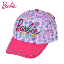 Barbie Girl's Pink Flower Print Brand Sun Cap Hat Children Baseball Cap Summer Cotton Outdoor Hat Adjustment Size(China)