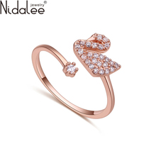 Nidalee Brand 2017 Hot Sale Luxury Gold Color Excellent White Zircon Swan Rings For Women Female Wedding Party Jewelry 492