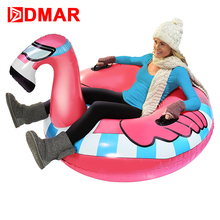 DMAR 125cm/49'' Inflatable Flamingo Unicorn Ring Skiing Sledge Ring Ski Circle Snow Board With Handle Winter Toy For Kids Adults