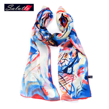 SALUTTO 100% Long Silk Woman Scarf Spring Shawls famous oil Painting Bandana Luxury Echarpes Foulards Femme Shemagh Bufanda(China)