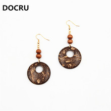 2017 free shipping fashion women New Jewelry wholesale Geometric natural wood hollow coconut shell earrings
