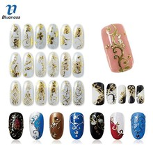 Blueness 3D Nail Art 108 Pattern/Sheet Large Size Bronzing Stickers Paste Manicure Gold Silver Flowers Decals Decorations JH125(China)