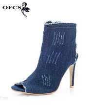 Quality High Elastic Jeans Boots Women Summer Autumn Women Ankle Boots Sexy Ladies 10cm High Heels Demin Gladitor Shoes Sandals