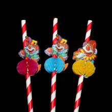 Creative Funny 3D Clown Umbrella Paper Drinking Straws For Kids Birthday Party Bar Cocktail Decoration Christmas Plastic Straws