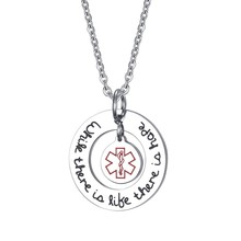 25mm Stainless Steel Circle of Life Charm Pendant Necklace with Medical Alert ID Tag(China)