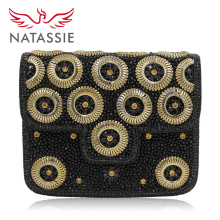 Natassie New Indian Evening Bag Handmade Beaded Full Stones Handbags Designer Clutch Bags Top Quality Black Party Purse
