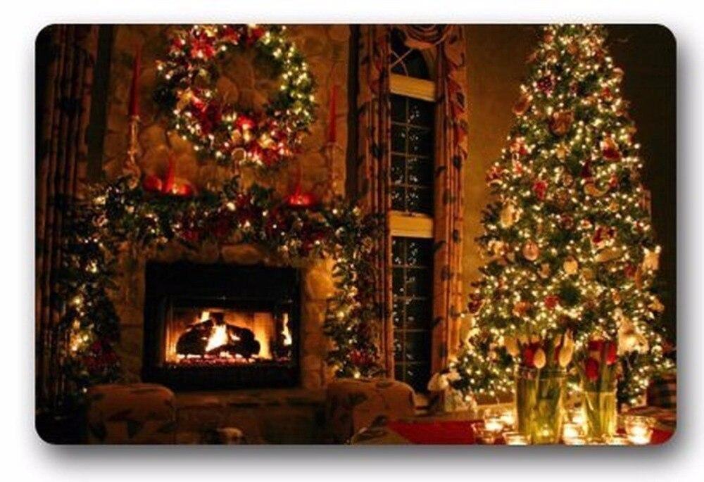 Custom Cartoon Cute Design Christmas Fireplace Machine Washable Doormat  Door Mat Rug Carpets Indoor/Outdoor Non Slip Rubber Back