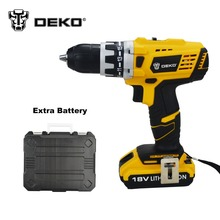 DEKO 18V DC New Design Mobile Power Supply Lithium Battery Cordless Drill  Electric Drill With extra battery pack and BMC