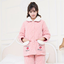 New Winter Thick Warm Women Flannel Pajamas Set Long Sleeve Comfortable Soft Coral Fleece Cardigan Letter Pattern Female Pyjama(China)
