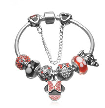 NEW Arrival European Bracelets Mickey Minnie Charms Beads Fits European Bracelets & Bangles Cartoon Exquisite Bracelets DIY 2017